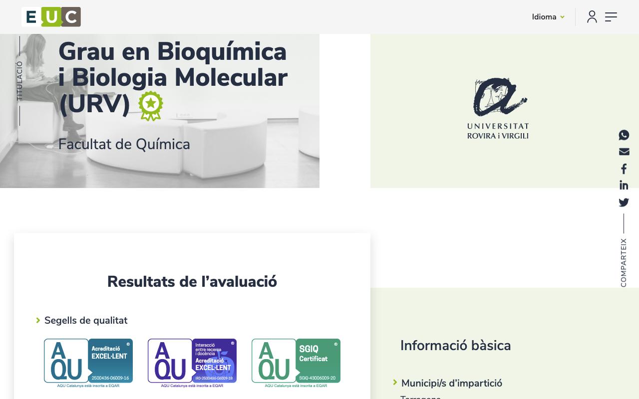Creació web de l'AQU Agència de Qualitat Universitària