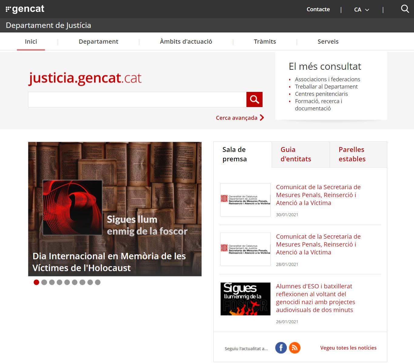 Auditoria accessibilitat web Departament de Justícia