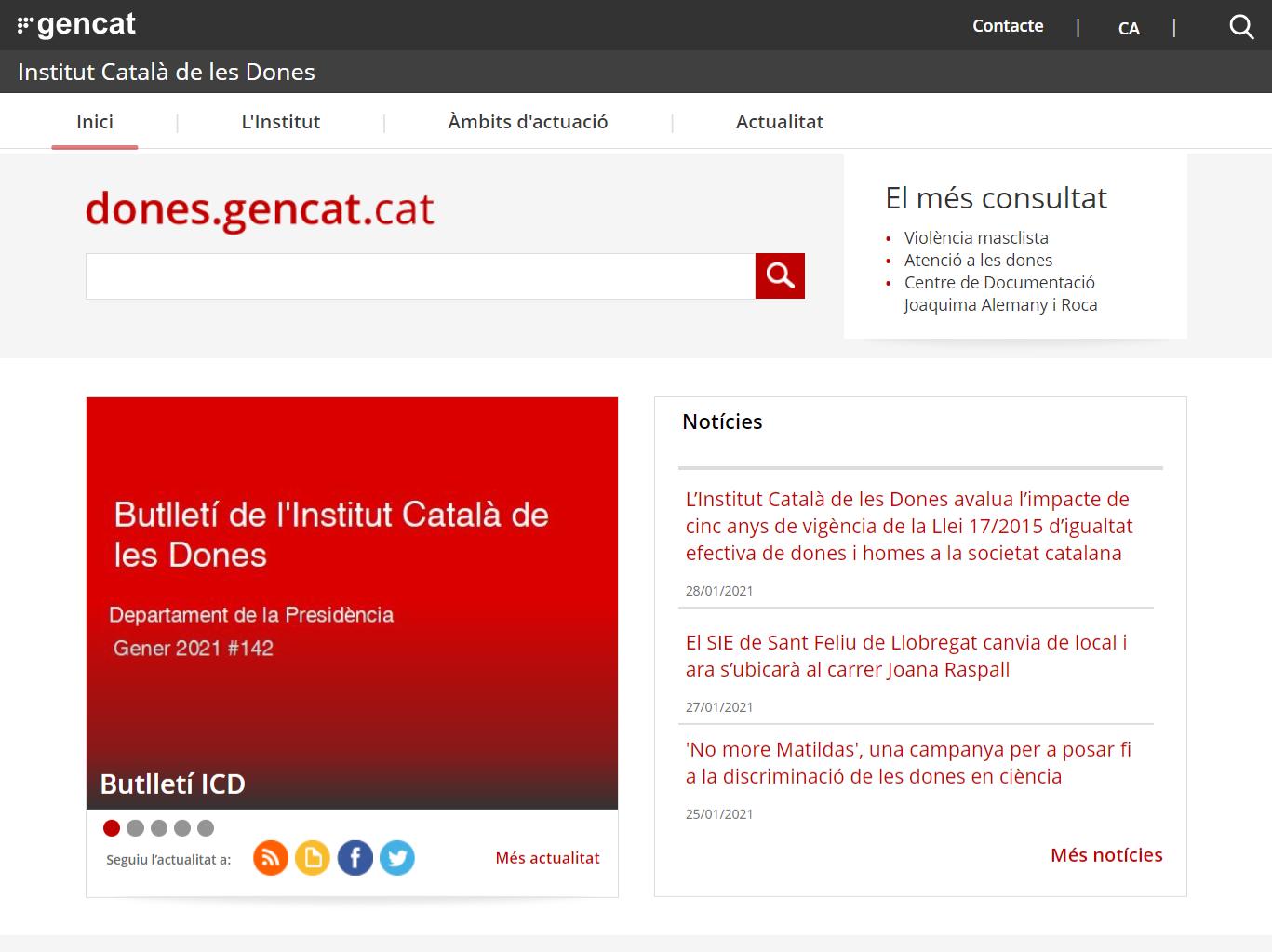Auditoria accessibilitat web Institut Català de les Dones